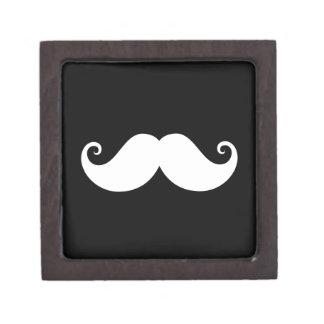 White gentleman handlebar mustache on black premium trinket boxes