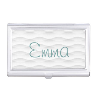 White Geometric Shadowed Background Business Card Case