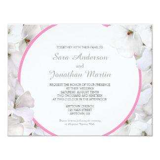 White Geranium & Pink Accent Wedding Card