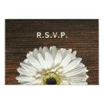 White Gerbera & Barnwood Rustic Wedding RSVP 3.5x5 Paper Invitation Card