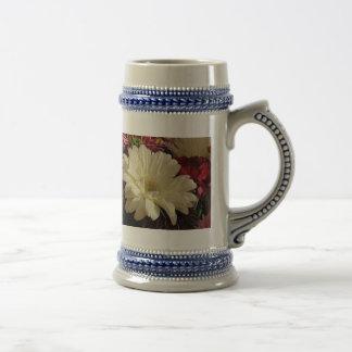 White Gerbera Daisy Beer Stein