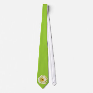 White Gerbera Daisy Flower Neck Tie