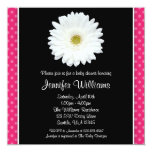 White Gerbera Daisy Pink Polka Dot Baby Shower Invitations
