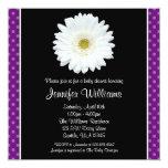 White Gerbera Daisy Purple Polka Dot Baby Shower Personalized Invitations