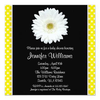 White Gerbera Daisy Yellow Polka Dot Baby Shower Card