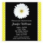 White Gerbera Daisy Yellow Polka Dot Baby Shower Invitation