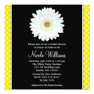 White Gerbera Daisy Yellow Polka Dot Bridal Shower Card