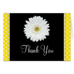 White Gerbera Daisy Yellow Polka Dot Thank You Greeting Card