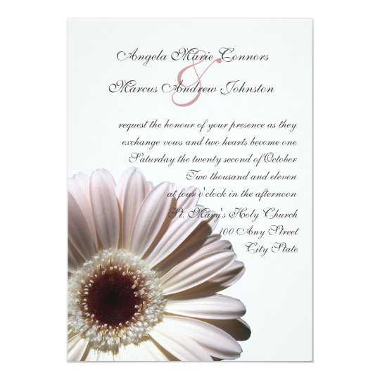 White Daisy Wedding Invitation: White Gerbera Wedding Daisy Invitation