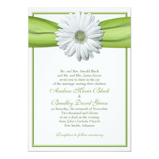 White Gerbera with Green Ribbon Invitation