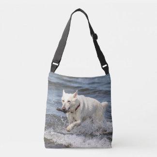 White German Shepard on Lake George Crossbody Bag