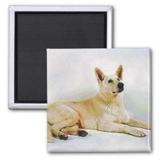 White German Shepherd 2 Inch Square Magnet