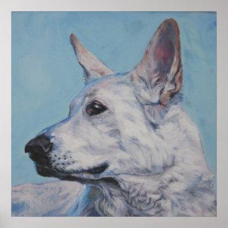 white german shepherd art print