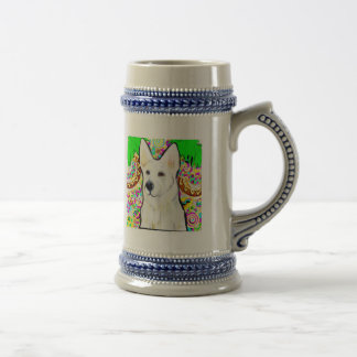 White German Shepherd Bling Beer Stein