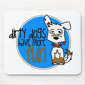 White German Shepherd -Blue Logo Mousepads