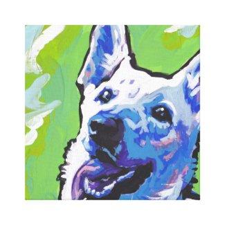 White German Shepherd Canvas Wrapped Pop Art