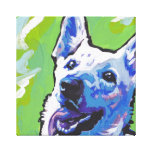 White German Shepherd Canvas Wrapped Pop Art Stretched Canvas Prints
