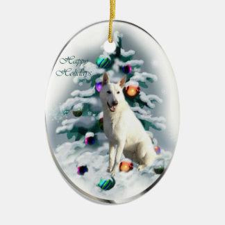 White German Shepherd Christmas Ceramic Ornament