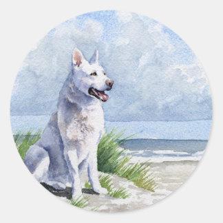White German Shepherd Classic Round Sticker