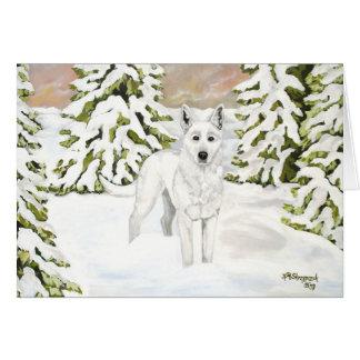 White German Shepherd Dog in Winter Snow Card