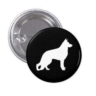 White German Shepherd Dog Silhouette Button