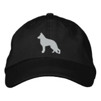 White German Shepherd Dog Silhouette Embroidered Baseball Hat