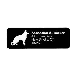 White German Shepherd Dog Silhouette Label