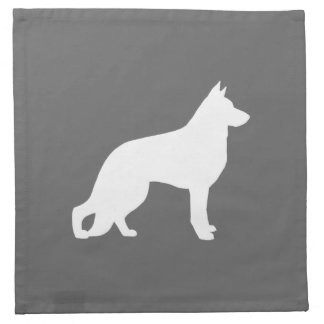 White German Shepherd Dog Silhouette Napkins