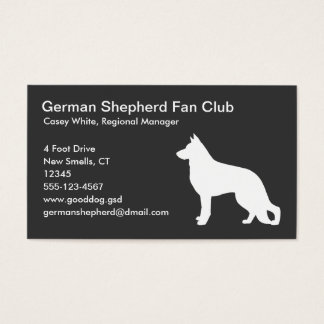 White German Shepherd Dog Silhouette on Grey Business Card
