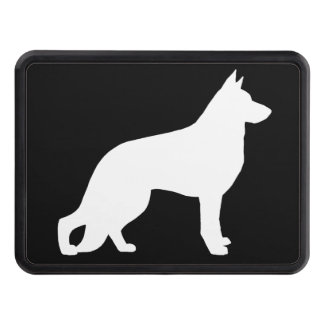 White German Shepherd Dog Silhouette Trailer Hitch Cover