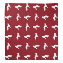 White German Shepherd Dog Silhouettes Pattern Bandana