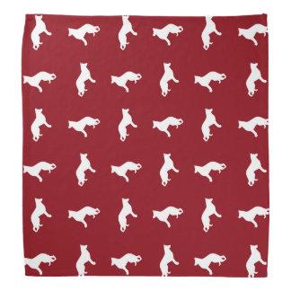 White German Shepherd Dog Silhouettes Pattern Bandana