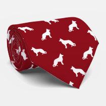 White German Shepherd Dog Silhouettes Pattern Tie