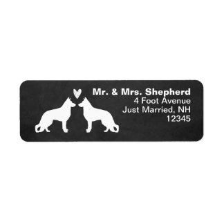 White German Shepherd Dog Silhouettes with Heart Label