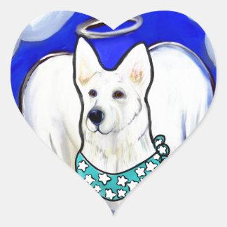 White German Shepherd Heart Sticker
