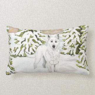White German Shepherd in Snow Pillow