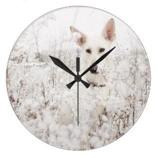 White German Shepherd in the Snow Large Clock