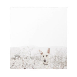 White German Shepherd in the Snow Note Pad