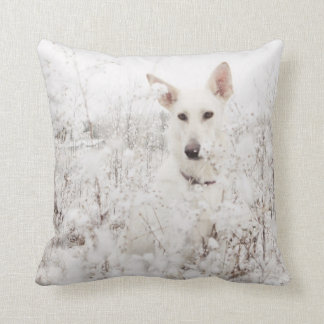 White German Shepherd in the Snow Throw Pillows