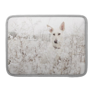 White German Shepherd in the Snow Sleeve For MacBook Pro