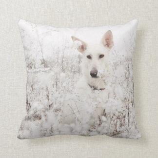 White German Shepherd in the Snow Throw Pillows