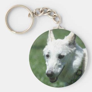 White German Shepherd keychain