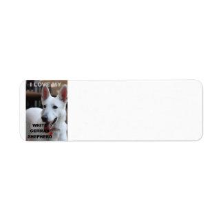 white german shepherd love w pic label