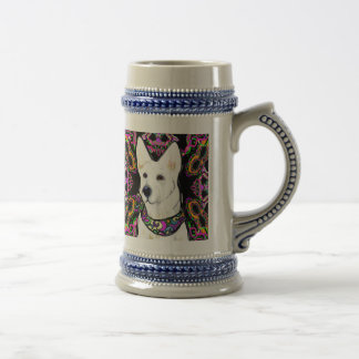 White German Shepherd Mardi Gras Beer Stein