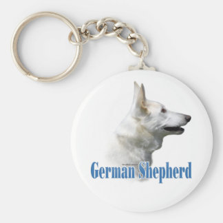 White German Shepherd Name Keychain