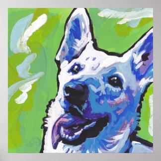 White German Shepherd Pop Art Poster Print