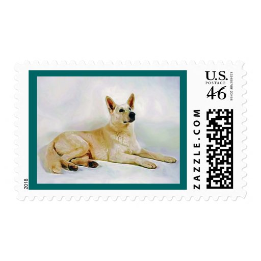 White German Shepherd Stamp