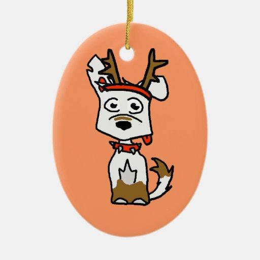 White German Shepherd Reindeer Double-Sided Oval Ceramic Christmas Ornament