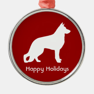 White German Shepherd Silhouette with Text Round Metal Christmas Ornament