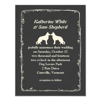 White German Shepherd Silhouettes Wedding Card